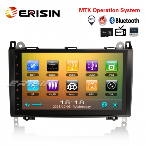 "Erisin ES792B 9"" Car Radio Player GPS BT DVR Mercedes Benz A/B Class W169 Sprinter Vito Viano"