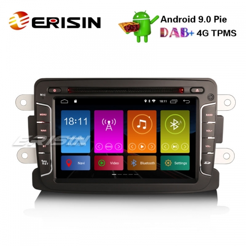 "Erisin ES2929D 7"" Android 9.0 Voiture DVD DAB + TPMS GPS Navigation 4G Wifi Autoradio Renault Dacia Duster Logan Lodgy Sandero"