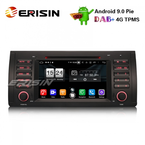 "Erisin ES7753B 7"" Octa-Core Android 9.0 Car Stereo CD GPS DTV DAB+ OBD2 for BMW 5 Series E39 E53 X5 M5"