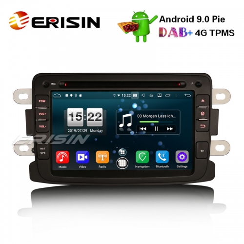 "Erisin ES7783D 7"" Android 9.0 Système Renault Dacia Duster Logan Logan Dokker Lodgy DAB + 4G Wifi Autoradio"