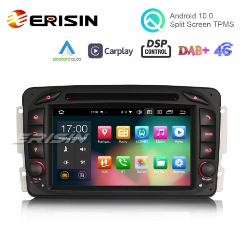 "Erisin ES8163C 7"" Octa-Core Android 10.0 Car DVD CarPlay & Auto GPS DVR for Benz CLK W209"