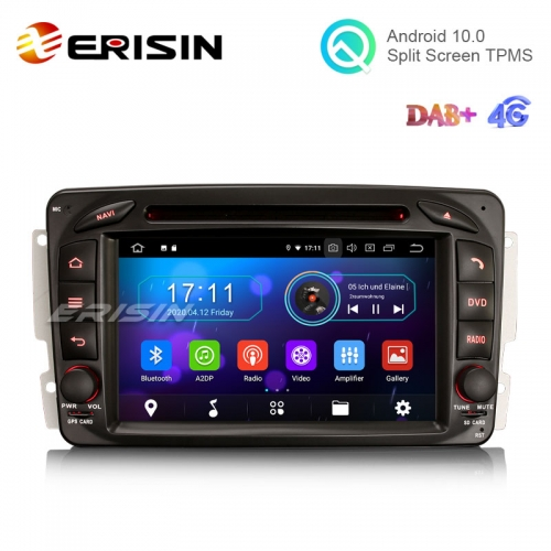 "Erisin ES6963C 7"" 8 Core Android 10.0 Car Multimedia with GPS Radio WiFi BT DVD DAB for Benz CLK C209 W209 Viano Vito W203"