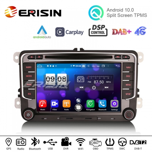 "Erisin ES8735V 7"" DSP Android 10.0 Car DVD Radio CarPlay & Auto GPS 4G DAB+ WiFi for VW"